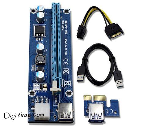 رایزر PCI-E 1x به 16x با کابل USB 3.0